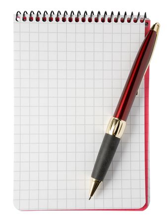 Blank notepad and a ballpoint pen. Isolated on a white background