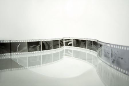mm: 35 mm negative film strips (with saxophone photos) Stock Photo
