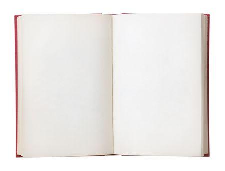 writing book: Libro aperto con pagine bianche. Isolati su uno sfondo bianco.  Archivio Fotografico