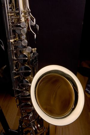 Saxophone photographed in low light