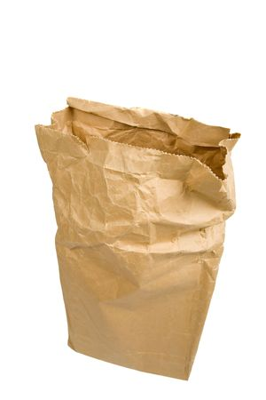 Brown paper bag on a white background photo