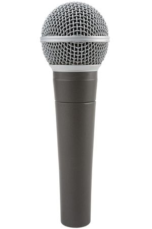 narrator: Professional vocal microphone isolated on a white background Stock Photo