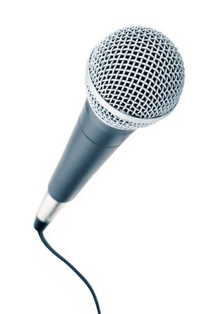 narrate: Professional microphone with a cable connected Stock Photo