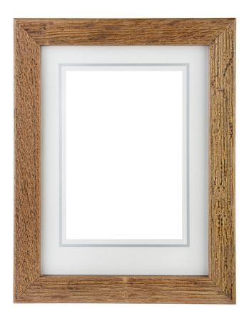 Wooden photo frame with border isolated on a white background Stock Photo