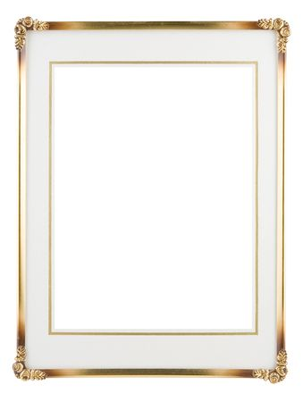 Metallic photo frame isolated on a white background. Stock Photo