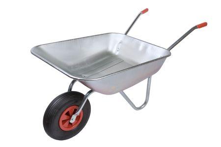 Wheelbarrow isolated on a white background photo