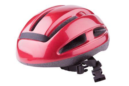 casco rojo: El uso de la bicicleta casco aislado sobre un fondo blanco