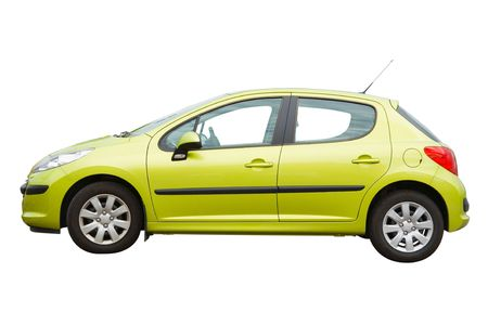 car side: Hatchback car isolated on a white background