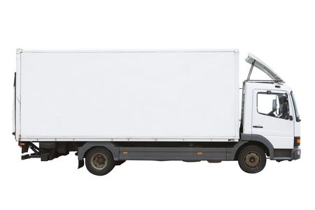 Blank white truck isolated on a white background