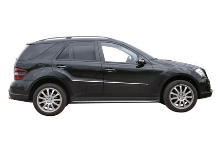 Black SUV car isolated on a white background Stock Photo