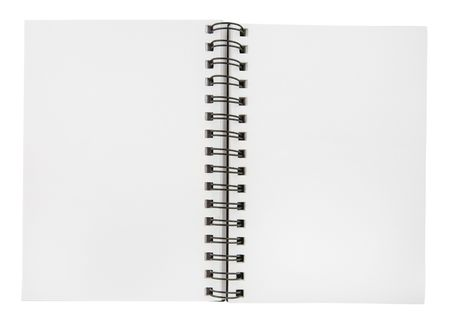 Blank open notebook on a white background