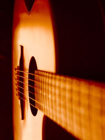 Detail of a beautiful acoustic guitar photo