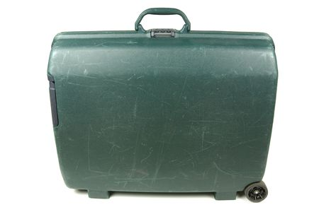 knocked out: Plastic travel suitcase ready for vacation trip