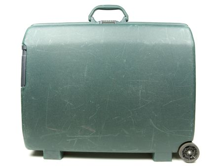 Plastic travel suitcase ready for vacation trip