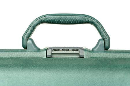 Handle of plastic travel suitcase Stock Photo
