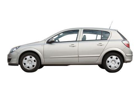 parked: Hatchback auto geïsoleerd op een witte achtergrond Stockfoto