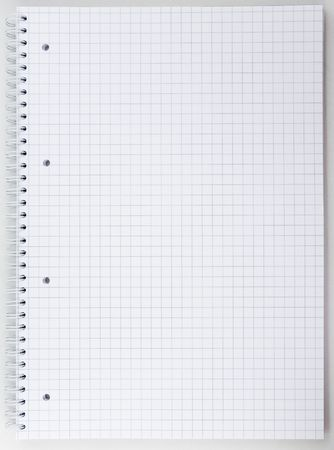 Blank open notebook with grid
