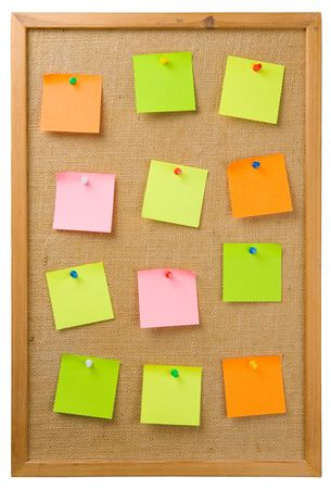 Sticky notes attached to a noticeboard