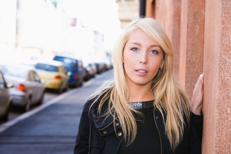 Portrait of young woman at street Stock Photo - 3420701