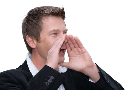 Man shouting with hands raised to mouth isolated on white Stock Photo