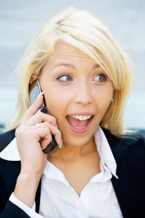 Young using cell phone with suprised expression Stock Photo - 3488990
