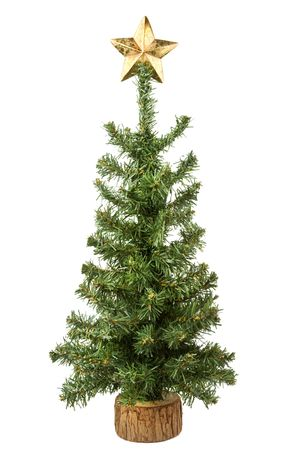 Christmas tree with star isolated on white background photo