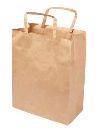 Bolsa de papel aislado sobre fondo blanco