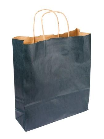 merchandize: Paper bag isolated on white background  Stock Photo