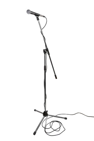 Microphone on stand isolated on white background Stock Photo