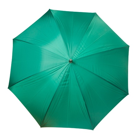 Large green umbrella isolated on white background Stock Photo