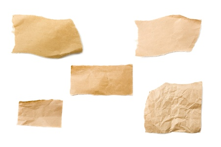 Pieces of brown packaging paper isolated on white background Stock Photo
