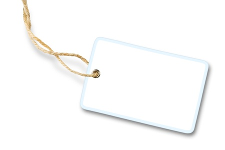 name tags: Blank white gift label with cotton string isolated on white background with shadow Stock Photo