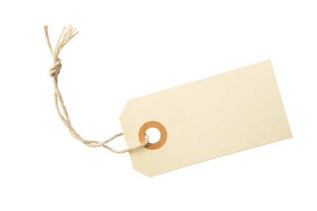 name tags: Blank paper tag with cotton string isolated on white background with clipping path