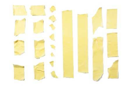 cintas: Tiras de cinta adhesiva aislados en fondo blanco