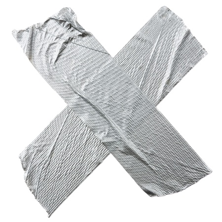 tape: Crossed duct tape strips isolated on white background