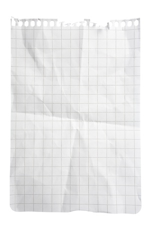 Single sheet of squared notepad paper isolated on white with clipping path Stock Photo - 8666980