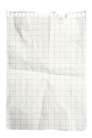 Single sheet of squared notepad paper isolated on white with clipping path Stock Photo - 8667051