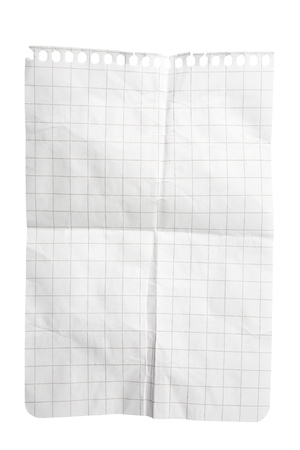 Single sheet of squared notepad paper isolated on white with clipping path Stock Photo - 8666988