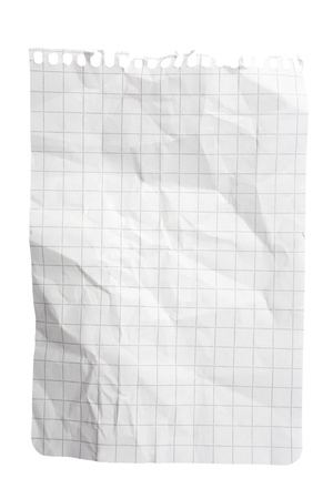 Single sheet of squared notepad paper isolated on white with clipping path Stock Photo - 8667024