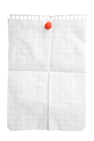 Creased notepad sheet attached with pushpin isolated on white background with clipping path Stock Photo - 8667003