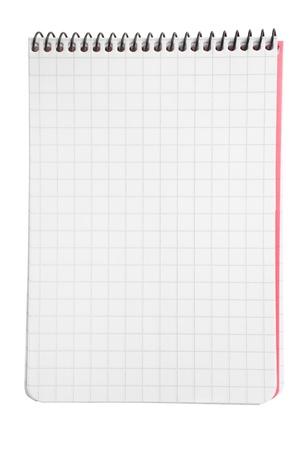 atados: Bloc de notas con papel cuadrado aislado en fondo blanco con trazado de recorte Foto de archivo