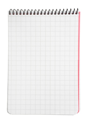Notepad with squared paper isolated on white background with clipping path Stock Photo