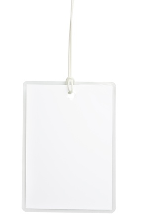 Blank laminated badge isolated on white background with clipping path photo