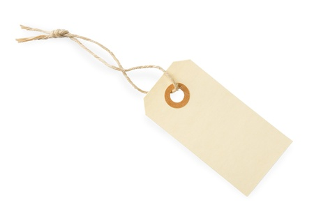 Blank paper tag with cotton string isolated on white background with shadow photo