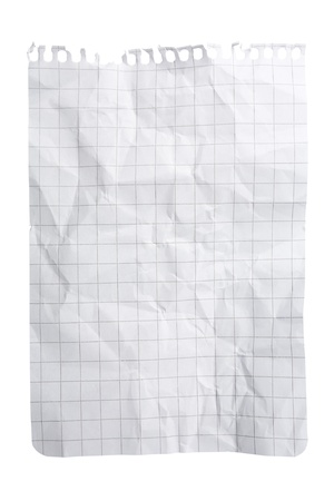 Single sheet of squared notepad paper isolated on white  Stock Photo - 8736852