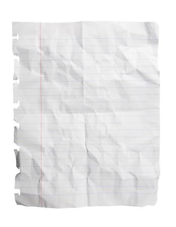 feuille froiss�e: Seule feuille de papier de bloc-notes concass�e isol� sur fond blanc