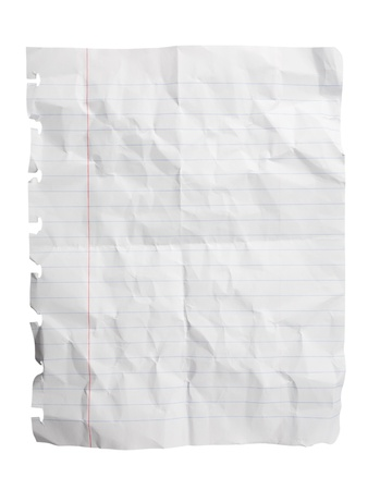 lined: Single sheet of crushed notepad paper isolated on white
