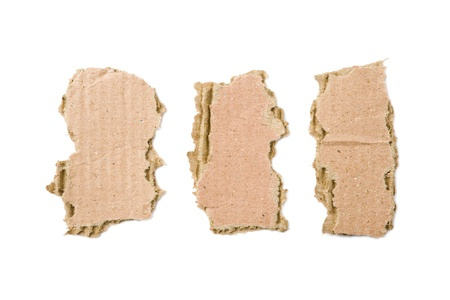 Three bits of cardboard isolated on white background Stock Photo - 8736853