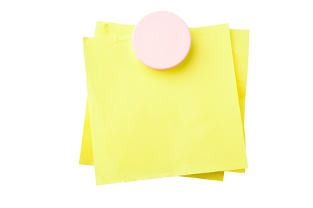 Yellow sticky notes attached with magnet isolated on white background  Stock Photo - 8736772