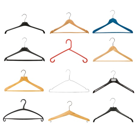 coathanger: Set of coat hangers isolated on white background Stock Photo